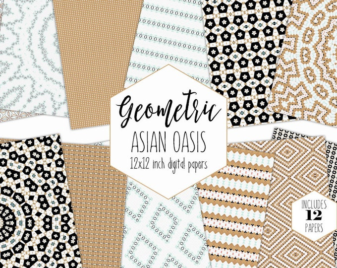 BLACK WHITE & GOLD Digital Paper Pack Floral Mandala Backgrounds Asian Scrapbook Papers Geometric Patterns Party Printable Commercial Use