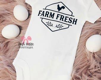 FARM FRESH onesie - farm fresh bodysuit - farm fresh baby - baby farmer - hipster baby - farmer babe