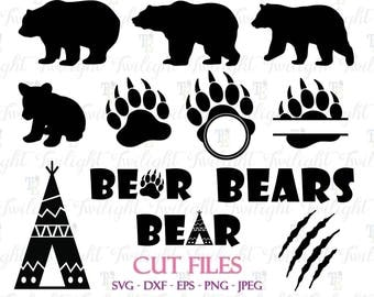Bear Cut Files, Bear Claw Cut Files, Bear Paw Cut Files, Bear SVG Cut Files, Bear DXF Cut Files, Bear Eps / Png / Jpeg Files 0061