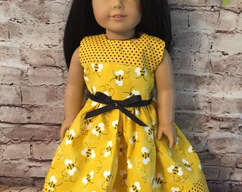"Yellow and Black Bumble Bee and Polka Dots Dress for 18"" Dolls like American Girl Dolls"