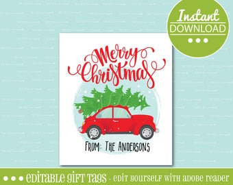 Red VW Beetle CHRISTMAS Gift TAGS, Christmas, Holiday, Instant Download, Car, gift, tag, digital, printable, editable,