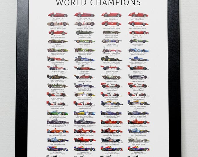 Featured listing image: The History of Formula One World Champions Poster- F1 (Updated with 2017 World Champion Lewis Hamilton)