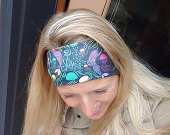 Headband Happy AK Mermaids and Jellyfish knit headband Yoga Ocean Athletic Bohemian