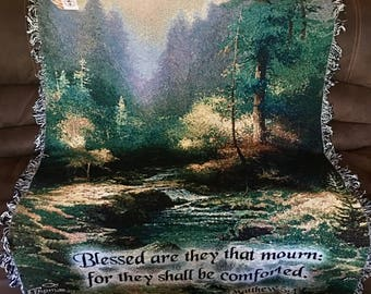 50% OFF! CreekSide Trail Tapestry Blanket by Thomas Kinkade