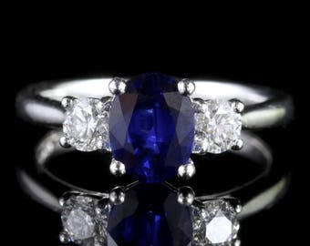 Sapphire Diamond Trilogy Ring Platinum Engagement Ring