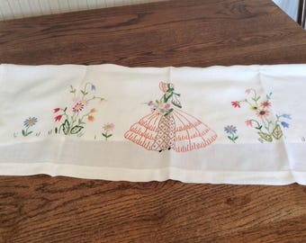 Sofa cover, sofa back cover, crinoline lady cloth, vintage embroidery, pretty needlework, vintage linens, embroidered linens
