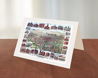 Greeting card of Los Angeles, California CA., 1891.  Reproduction map greeting card.