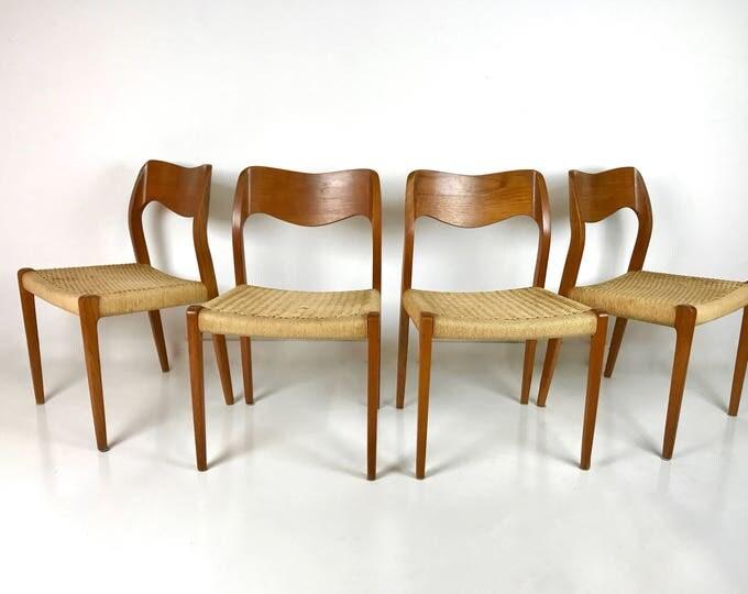 4 Mid Century Modern DANISH Sculpted Vintage Woven NIELS MOLLER Model 71 Teak Dining Chairs