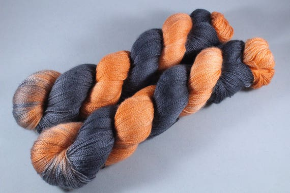 Hand Dyed Lace Merino/Silk Yarn - Pumpkin Knight