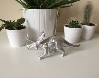 Triceratops dinosaur silver coloured photo memo picture wedding birthday gift table desk decor business card holder home office decoration