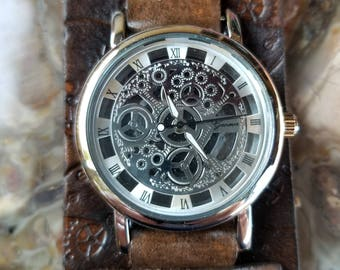Steampunk Watch with Tooled Leather Cuff