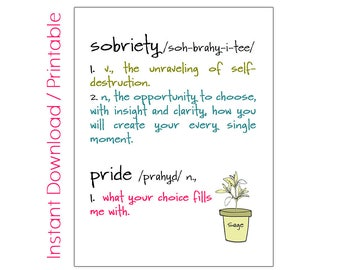 Gifts for Sobriety | Addiction Recovery Gifts | Sobriety Printable Art | Sobriety Anniversary | Sober Anniversary | Positive Vibes | Sober
