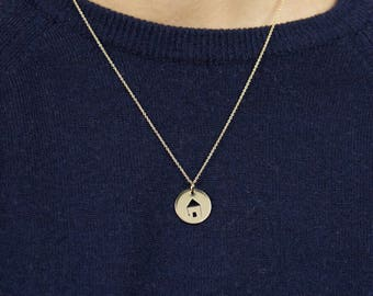 """""""Home"""" - gold Champagne - Hand-made Locket necklace"""