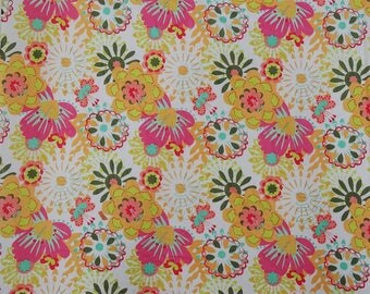 "Upholstery Fabric, Floral Print, White Fabric, Sewing Decor, Indian Fabric, 42"" Inch Cotton Fabric By The Yard ZBC9303A"