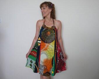 Upcycled dress Halter dress Boho dress Plus size tunic Hippie clothes Gypsy clothing Gypsy tanks Boho clothing Bohemian dresses Woman tunic