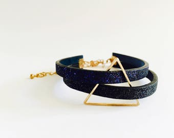 Black an blue bracelet / Geometric bracelet /  Triangularl bracelet