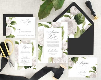 Botanical Wedding Invitations Printed - White Floral Wedding Invitation Suite Wedding - Printed Wedding Invitation Greenery - Set of 10
