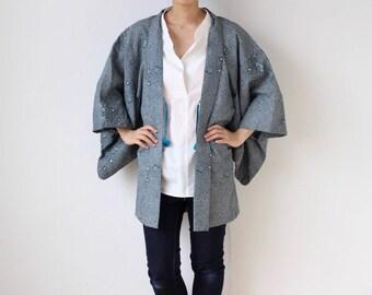 kanoko kimono jacket, floral silk kimono, Haori, Japanese vintage /1802