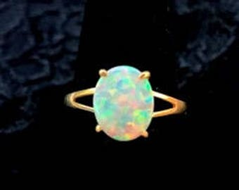 Priced To Sell!!  White Opal Ring Set in 14k Yellow Gold