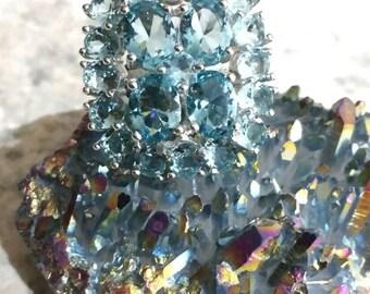 Huge Blue Topaz Ring Size 9 1/2