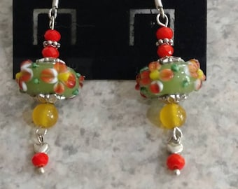 Yellow and Orange Lampwork Earrings