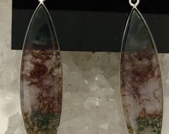 Fancy Red and Green Moss Agate Earrings