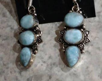 Three Stone Larimar Earrings