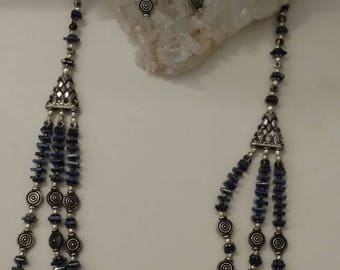 Lapis Beaded Necklace and Matching Earrings