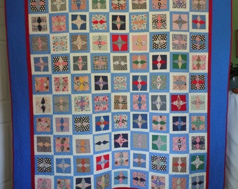Upcycle Quilt, Traditional Quilt, Full or Twin Size Quilt, Patchwork Quilt, Blue Quilt, Vintage Quilt, Star Quilt