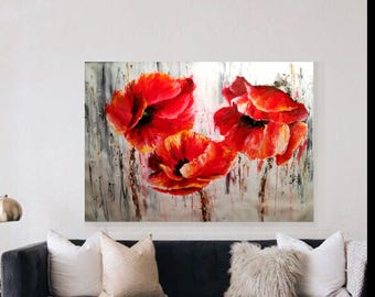 Poppy painting, flower painting, wall art, red flower,  Landscape Painting, Family Room Art, Red Flowers, Abstract painting,fixer upper