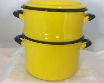 Vintage Bright Yellow Enamel Steamer and Colander