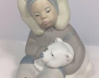 Vintage Lladro Eskimo Boy with Polar Bear Cub #1195
