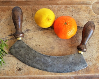 French Mezzaluna, Herb Chopper, Herb Cutting Knife, Vintage Knives, Hachoir, Vintage Mezzaluna, French Chopping Knife GIFT FOR HIM,