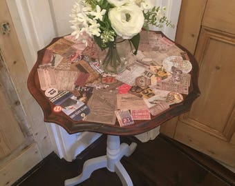 Up cycled Side Table with Vintage Decoupage