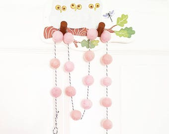 Dusty pink felt ball garland