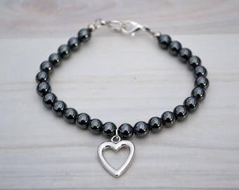 Hematite bracelet, Silver hematite bracelet, Beaded hematite bracelet, Genuine hematite bracelet, Natural hematite gift, Hematite jewelry.