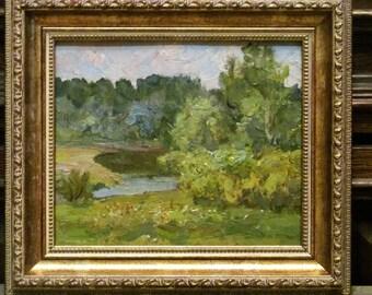 1975 June. Oil painting. Landscape. Siberia. Original