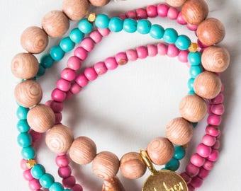 Wood Bead Stretch Bracelet Stack, Beach Bracelets