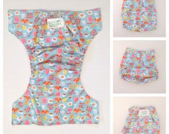 Cloth Diaper, Cloth Nappy, Baby Diaper, Breakfast, Breakfast Diaper, Fitted Diaper, All In One, AIO, Diaper Cover, Pocket Diaper,