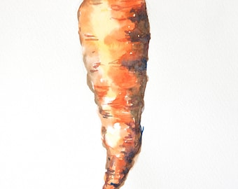 Carrot on white, Original watercolor painting on paper with signed size 11.5 x 8 inches [ A 4 ], For home decorate, kitchen decorate
