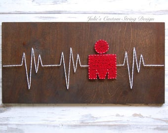 MADE TO ORDER Ironman Triathlon Heartbeat String Art Wood Sign