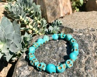 Turquoise Skull Bracelet w/ Silver detail