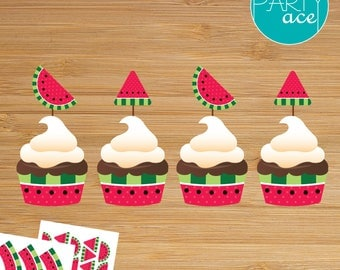 Watermelon Printable Cupcake Wrappers and Toppers Summer Birthday Party Decoration