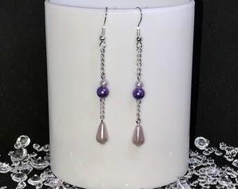 Silver long chain dangle purple drop earrings