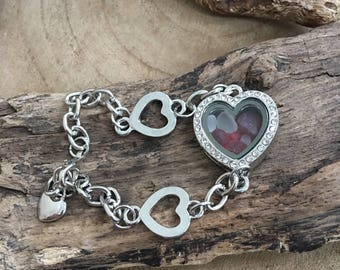 Crystal Heart memory locket bracelet filled with teenie red and white  Scottish  sea glass