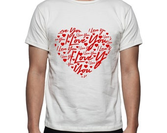 I Love You Heart Tee Shirt Design, SVG, DXF, EPS Vector files for use with Cricut or Silhouette Vinyl Cutting Machines