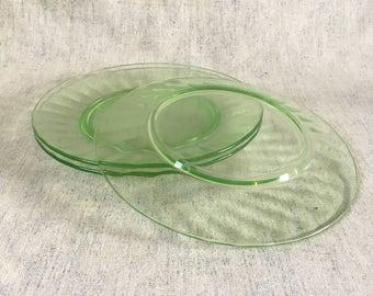 Vintage Green Depression Glass Paneled Salad Plates, Set of 3