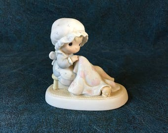Vintage Precious Moments Figurine, Love Covers All 1984, Jonathon and David