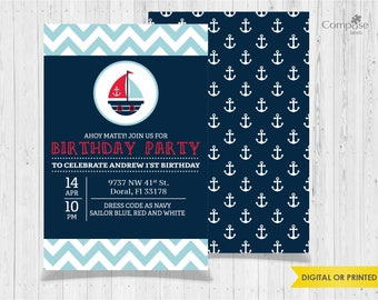 Navy - Invite your guests with personalized party invitations - Digital or Printed - Birthday Invitation - Boy Birthday Party