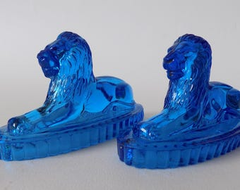 Antique Pair Of Victorian Blue Glass lion 'Landseer' Style Paperweights